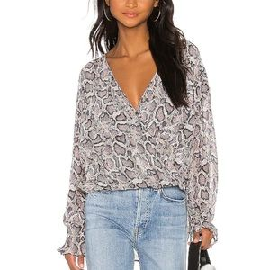 All Saints Penny Misra Top Blouse Snake Print Med